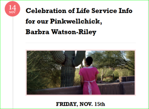 Barbra's legacy is The Pinkwellchick Foundation.