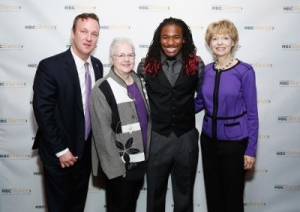 Marc Hurlbert, Alliance project leader; Karen Durham, patient advocate, DeAngelo Williams, Carolina Panthers; Shirley Mertz, MBCN