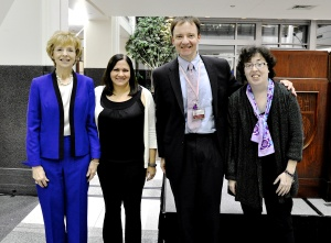 MBCN's Shirley Mertz (left) and Katherine O'Brien (far right) with leadership award recipients Dr. Nanda and Dr. Chmura.